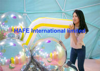 2M Dia Gold Mirror Balloons , Hanging Mirrored Metallic Balloon Lights
